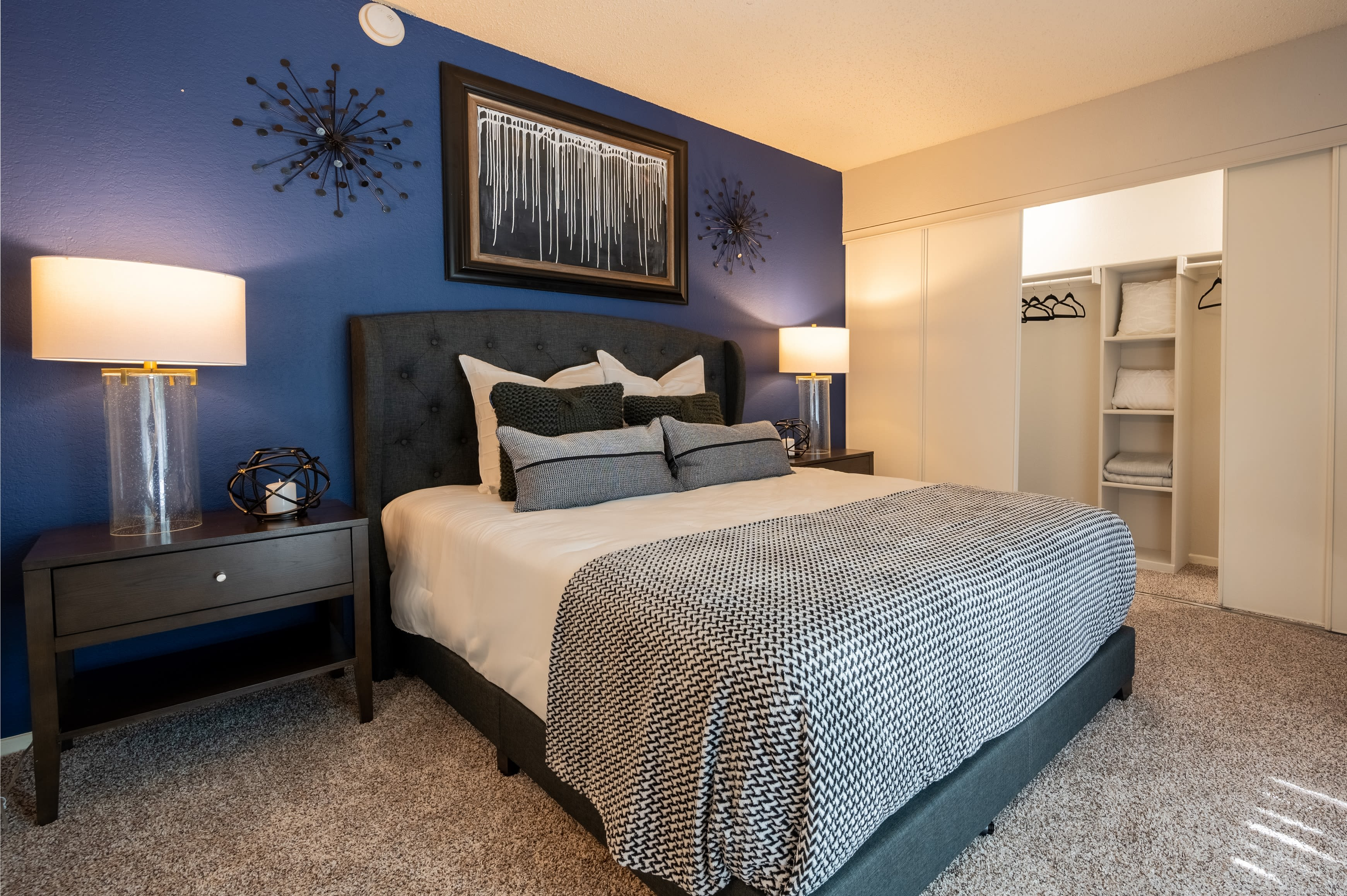Beautiful renovated spacious bedroom at Canopy on Central in Bedford, Texas
