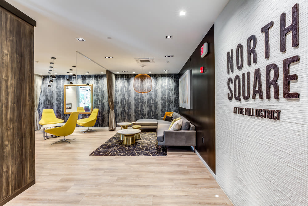 Community Room at North Square Apartments at The Mill District in Amherst, Massachusetts