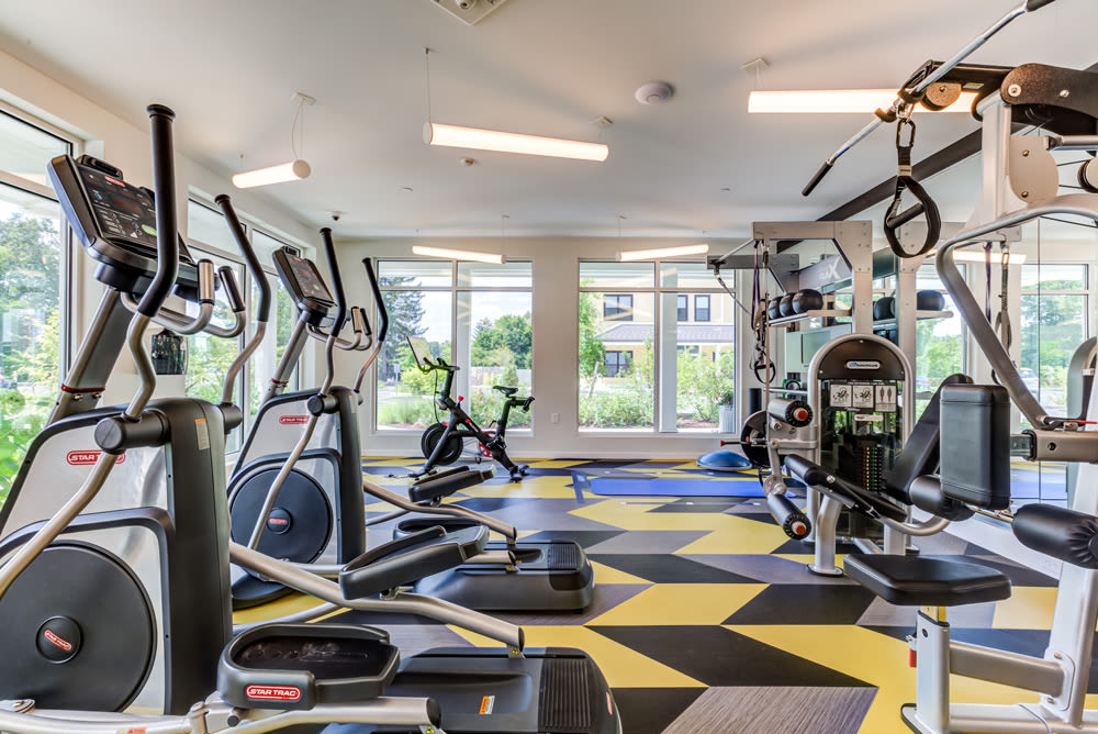 Fitness Center with Peloton at North Square Apartments at The Mill District in Amherst, Massachusetts
