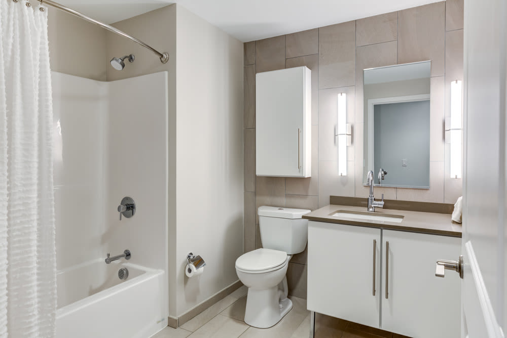 Bathroom at North Square Apartments at The Mill District in Amherst, Massachusetts