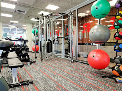 Modern fitness center at Riverside Towers Apartment Homes in New Brunswick, New Jersey