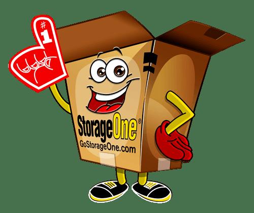 StorageOne Box Guy mascot at StorageOne Maryland Pkwy & Cactus in Las Vegas, Nevada