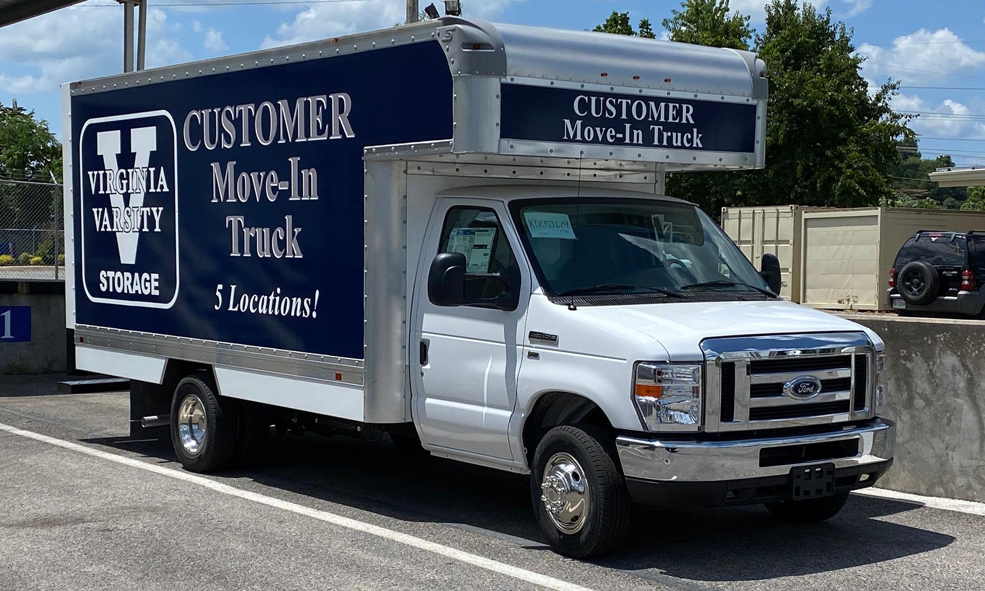 Customer Move-In Truck at Virginia Varsity Self Storage in Roanoke, Virginia is located