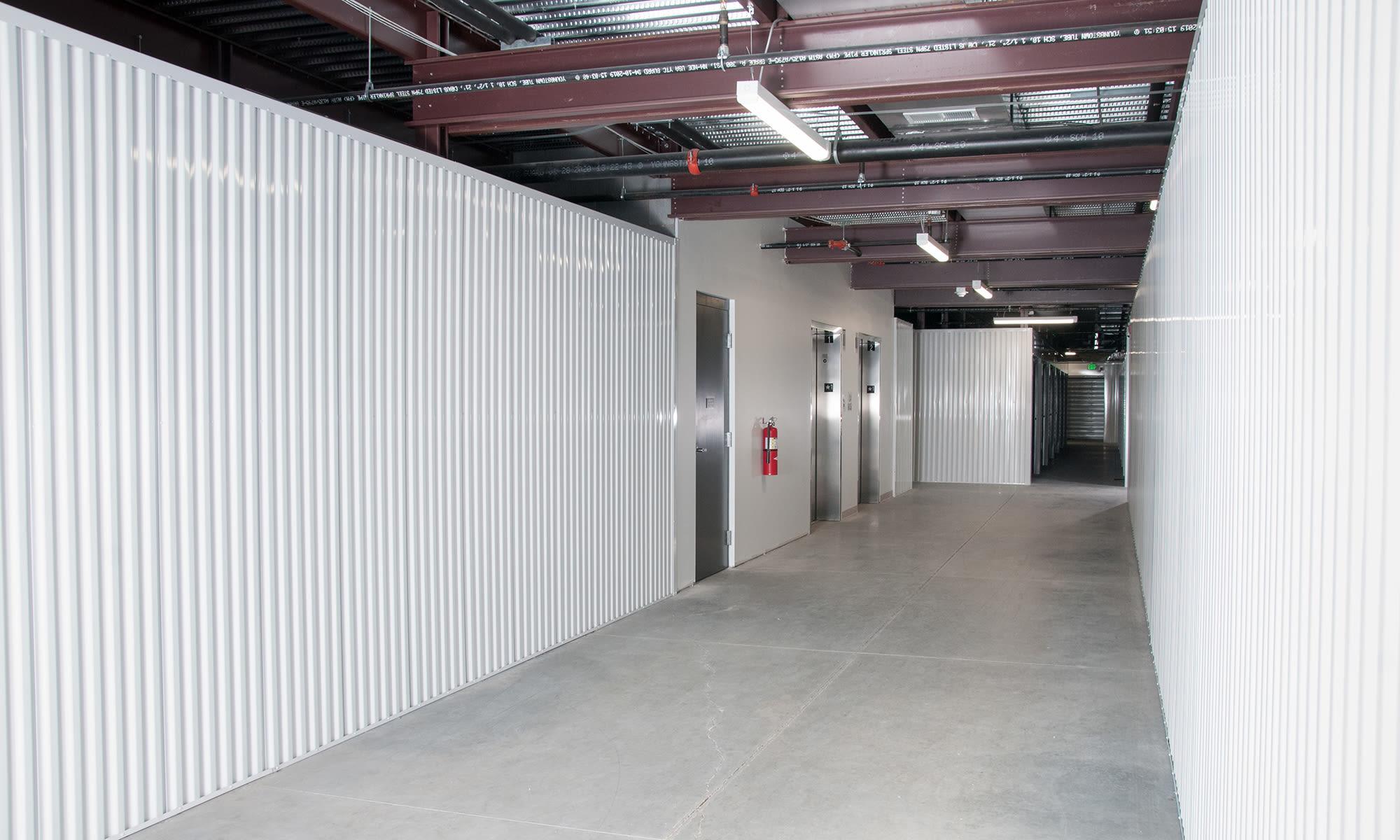 Wide Hallways at Virginia Varsity Self Storage in Roanoke, Virginia is located