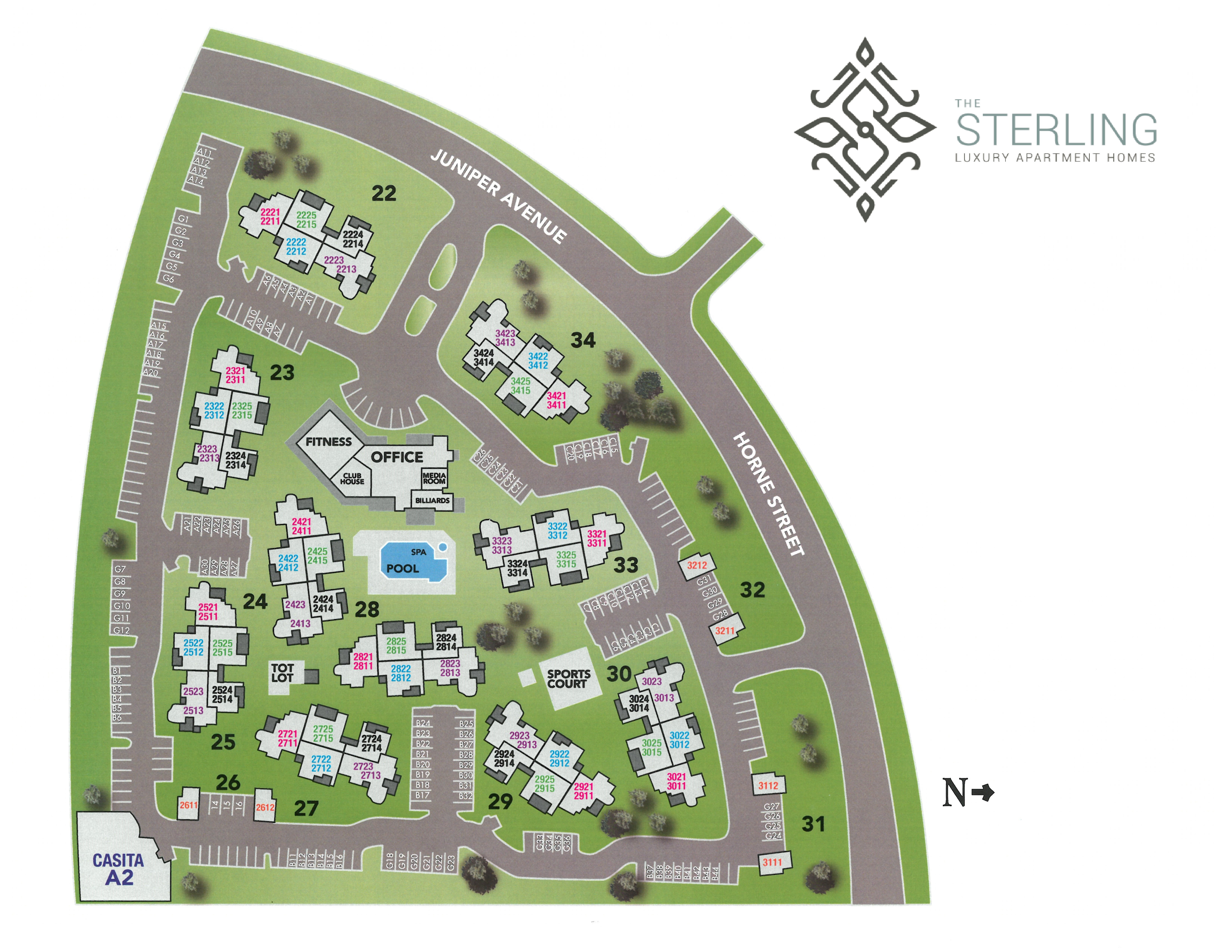 Site map for The Sterling in Gilbert, Arizona