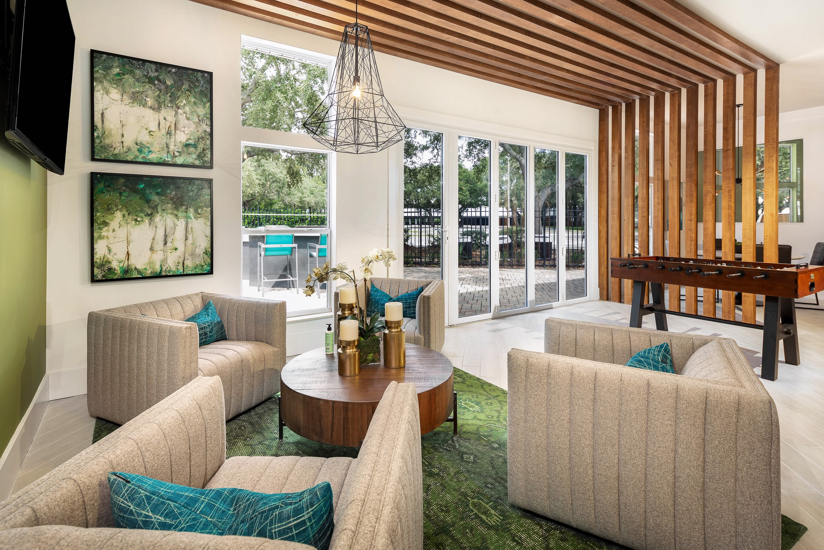 Plenty of space in living room at Amira at Westly in Tampa, Florida