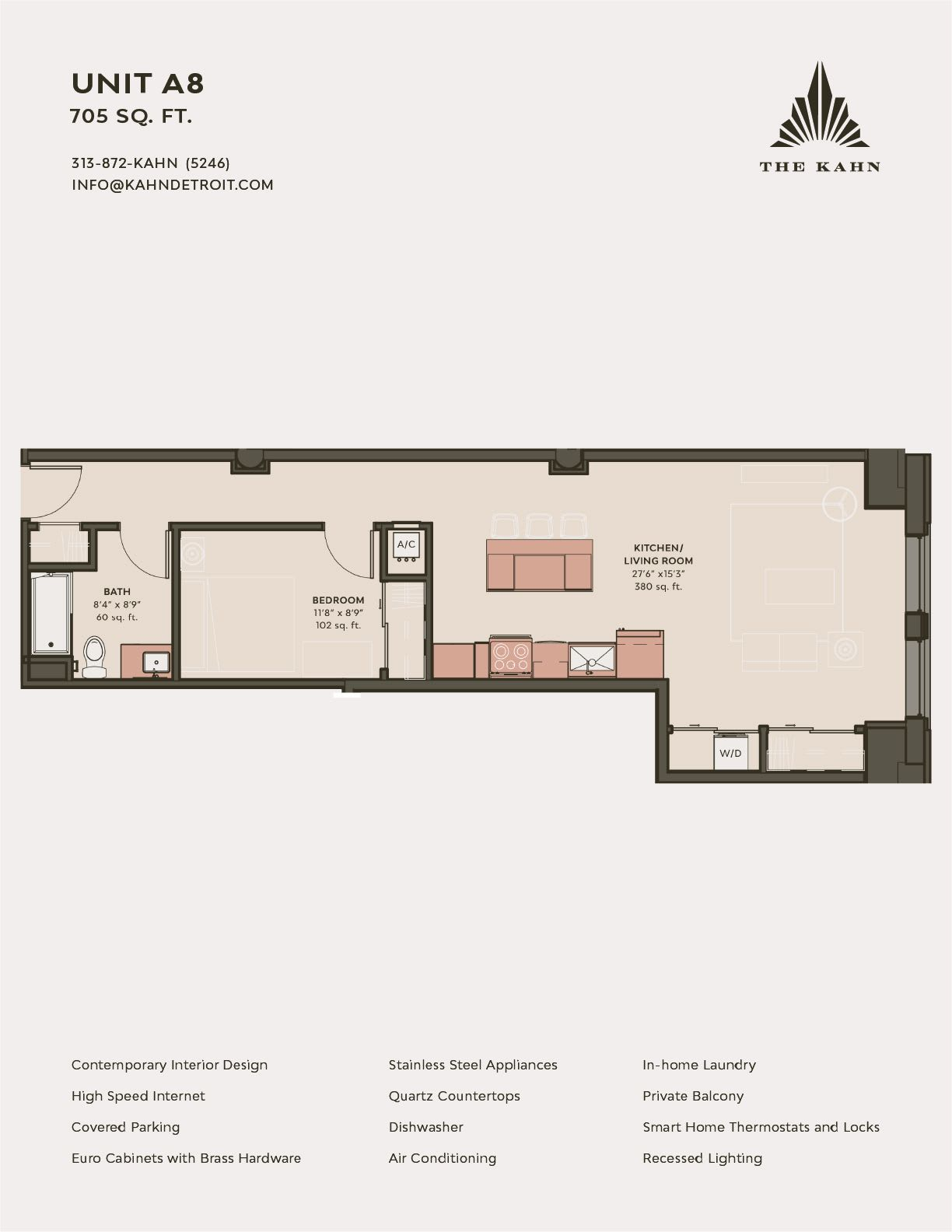 A8 floor plan image at The Kahn in Detroit, Michigan