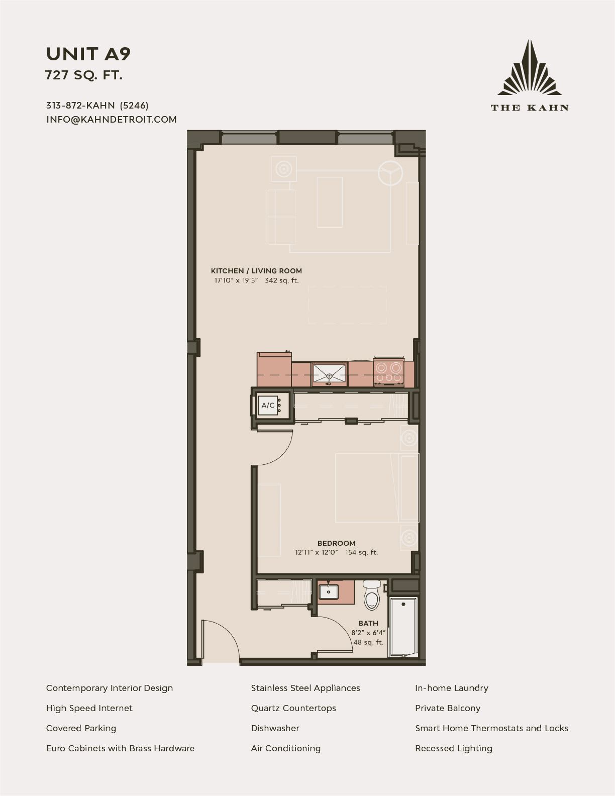 A9 floor plan image at The Kahn in Detroit, Michigan