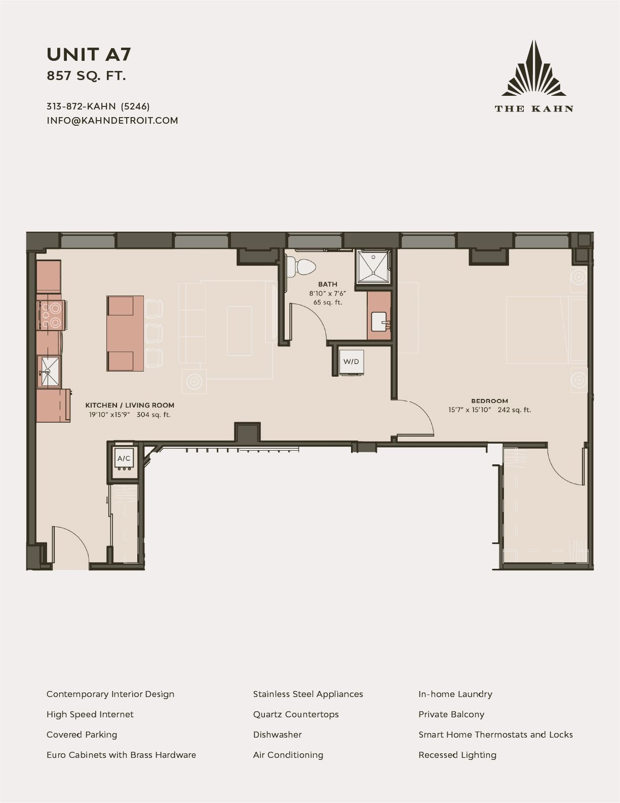 A7 floor plan image at The Kahn in Detroit, Michigan