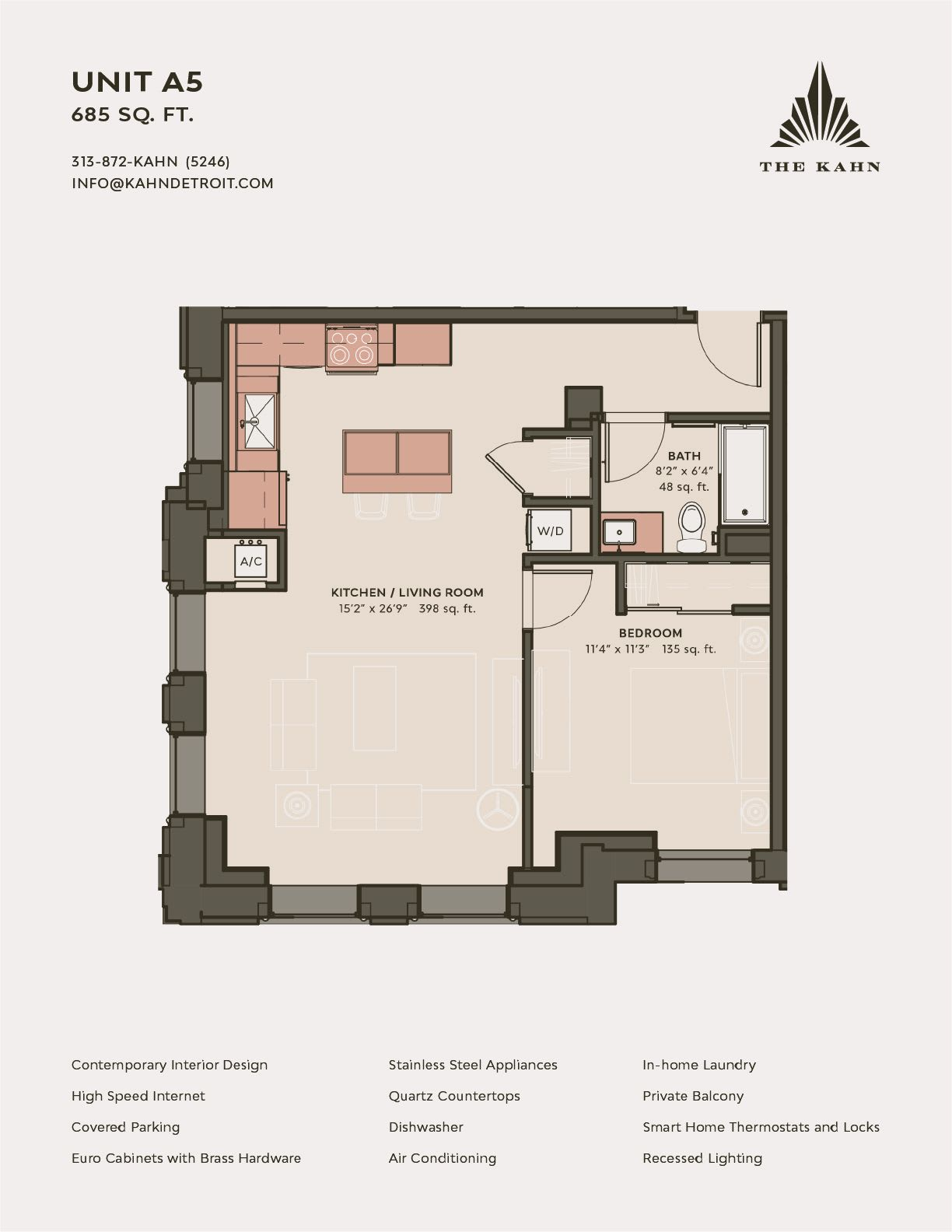 A5 floor plan image at The Kahn in Detroit, Michigan
