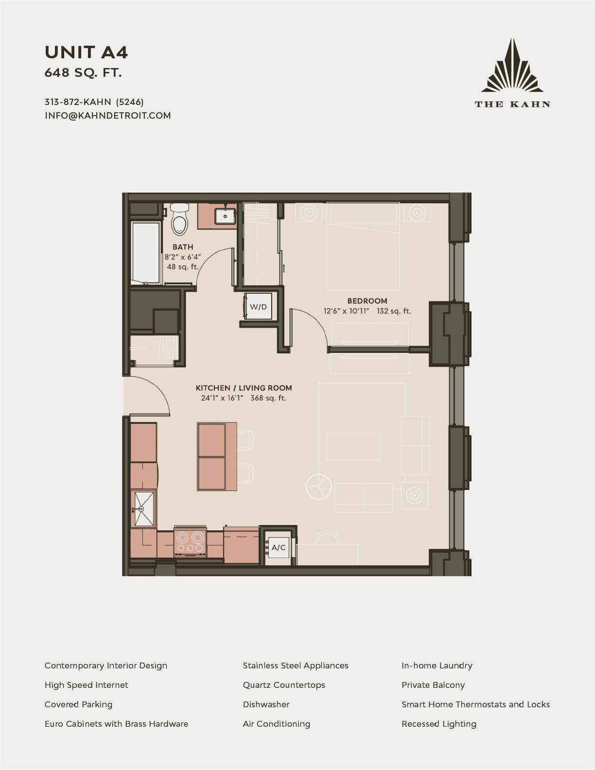 A4 floor plan image at The Kahn in Detroit, Michigan