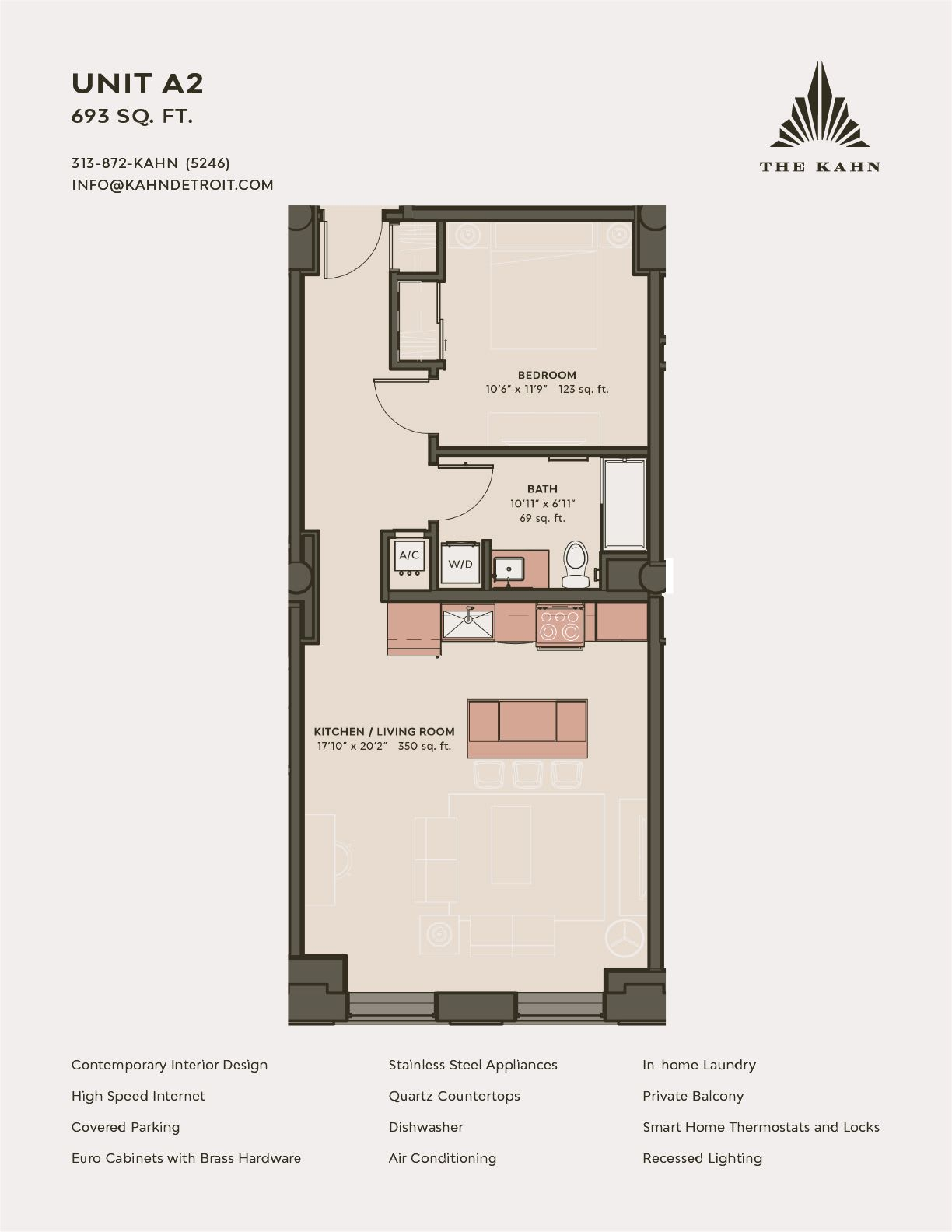 A2 floor plan image at The Kahn in Detroit, Michigan