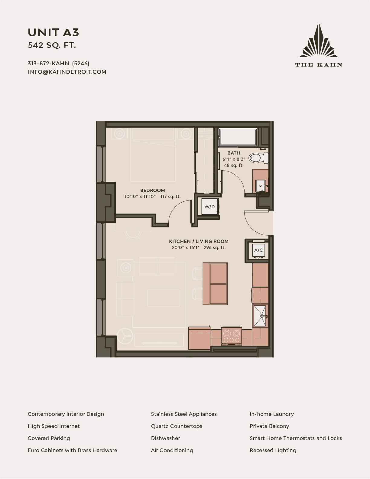 A3 floor plan image at The Kahn in Detroit, Michigan