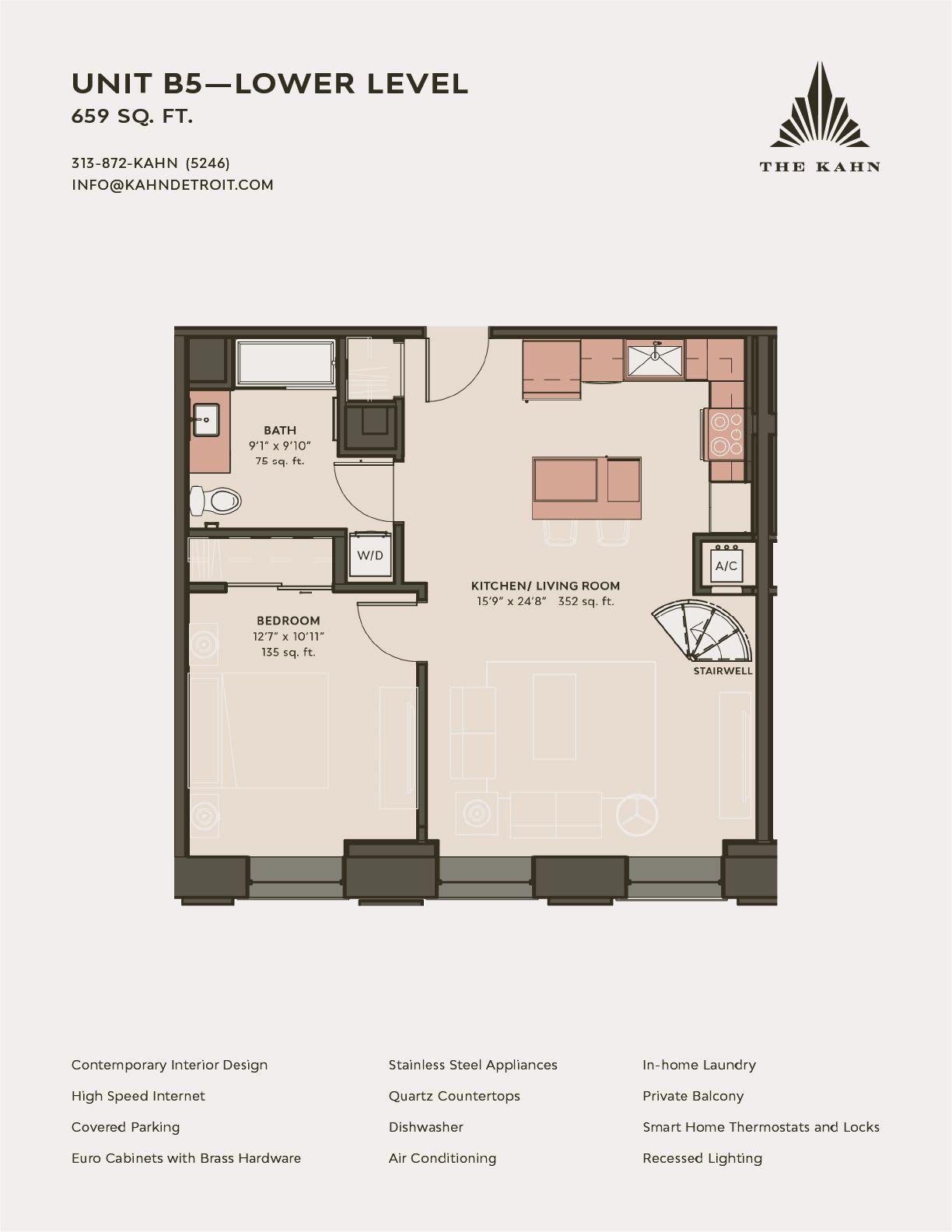 B5 floor plan image at The Kahn in Detroit, Michigan