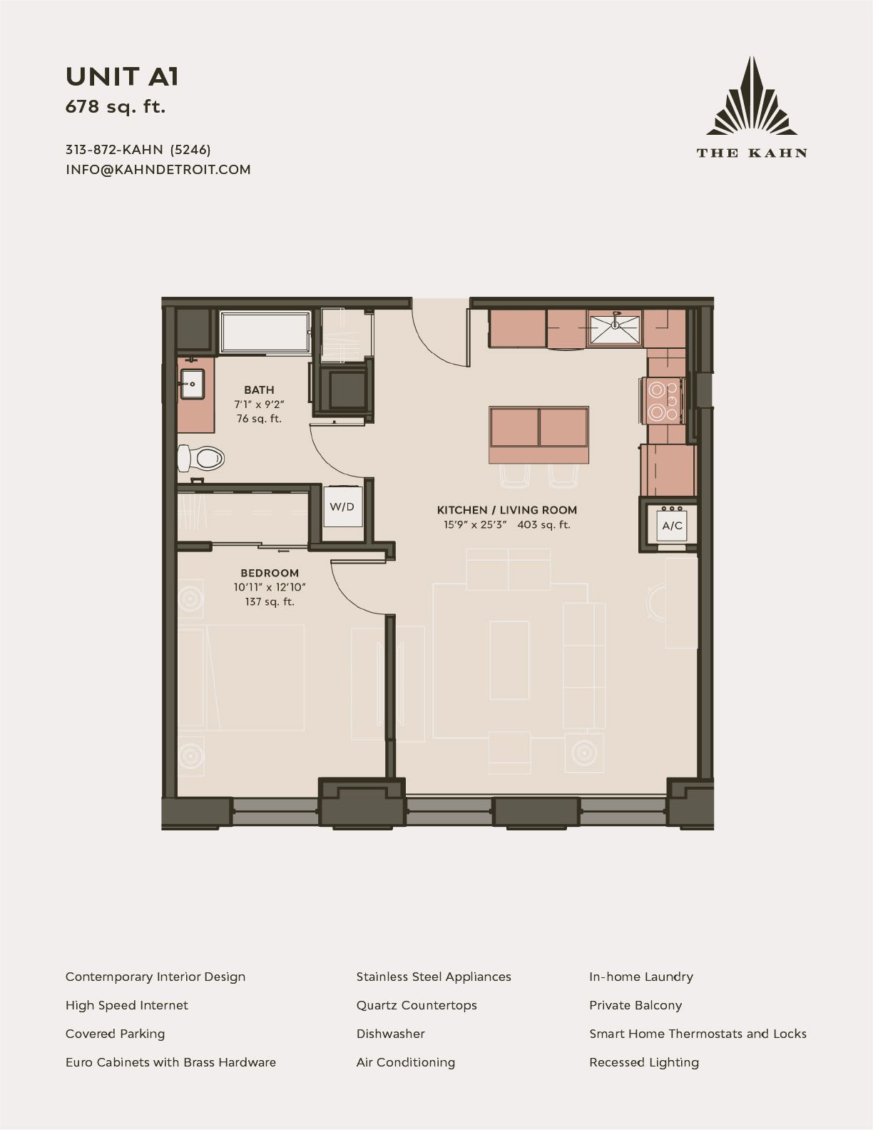 A1 floor plan image at The Kahn in Detroit, Michigan