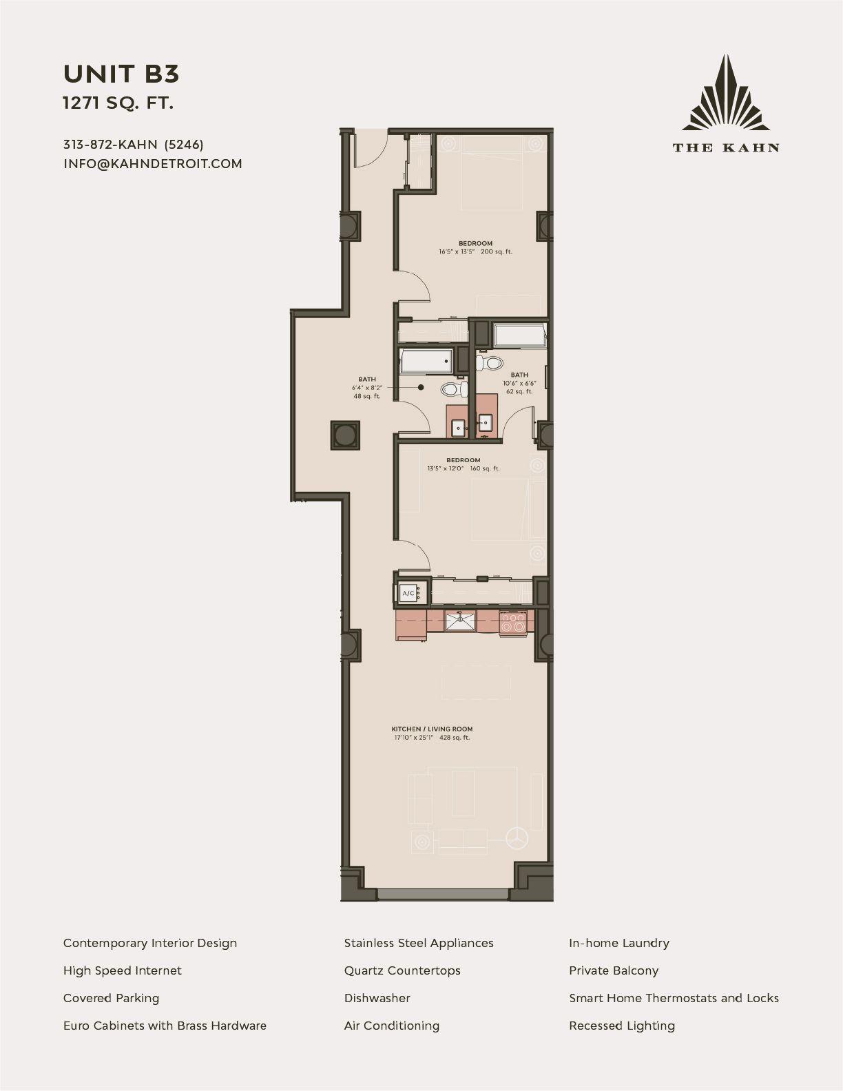 B3 floor plan image at The Kahn in Detroit, Michigan