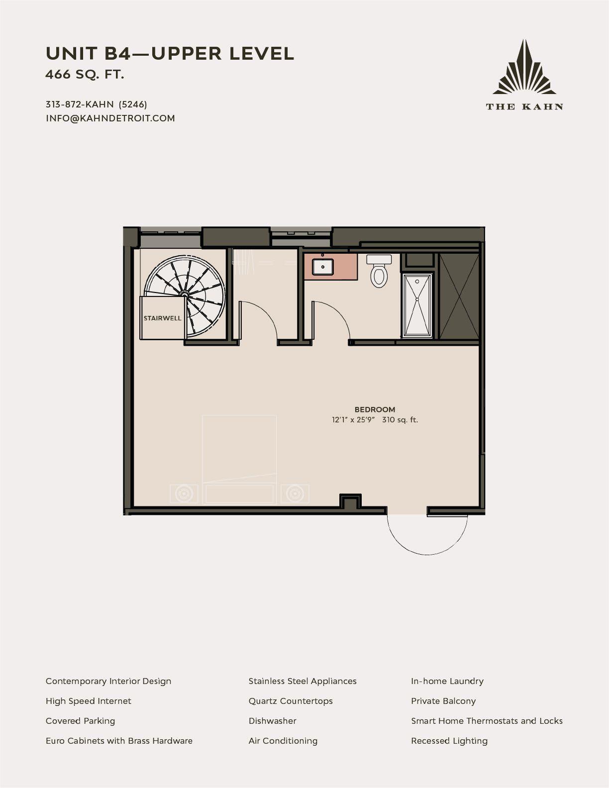 B4 floor plan image at The Kahn in Detroit, Michigan
