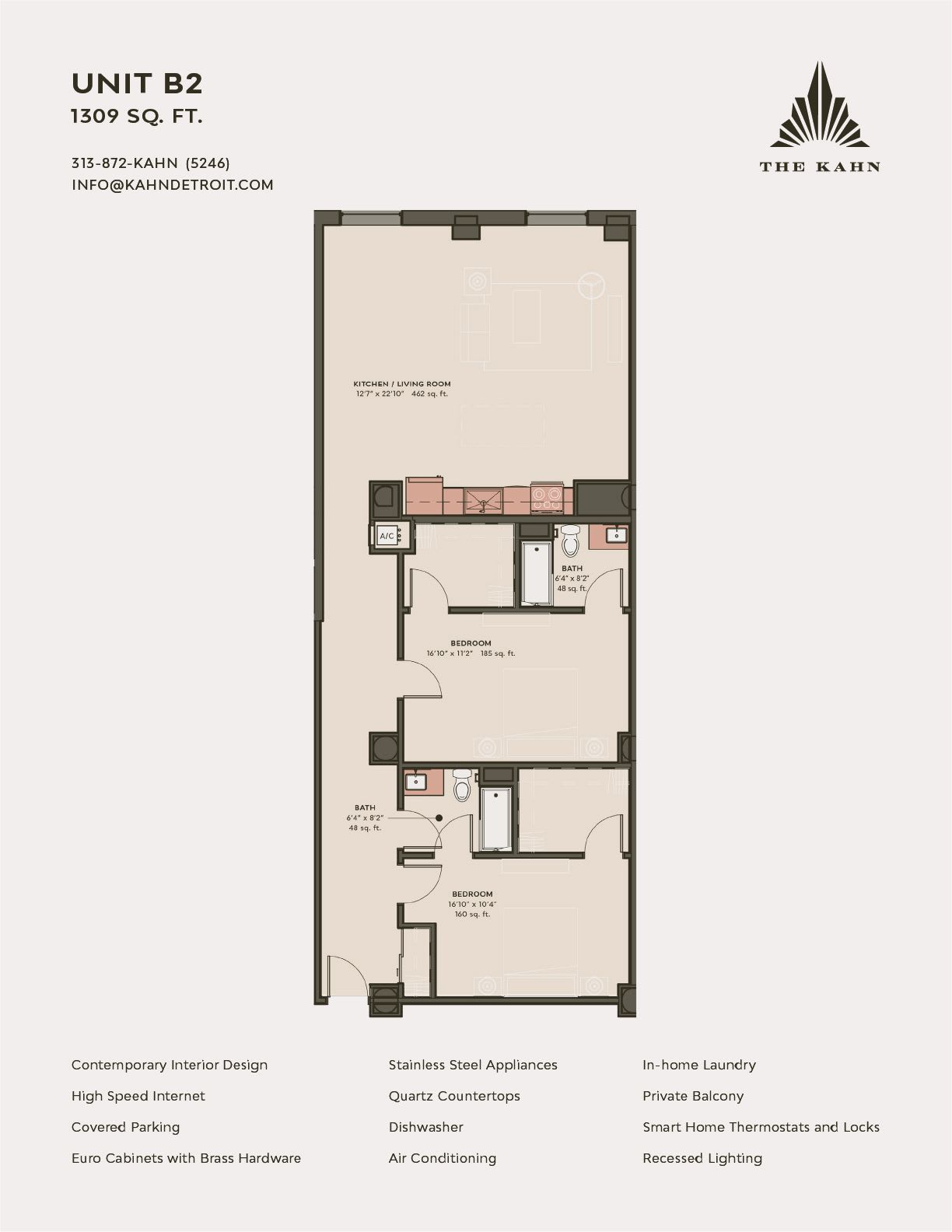 B2 floor plan image at The Kahn in Detroit, Michigan