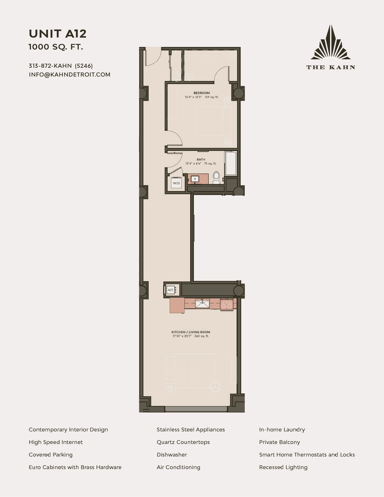 A12 floor plan image at The Kahn in Detroit, Michigan
