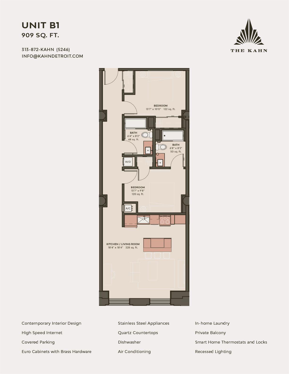 B1 floor plan image at The Kahn in Detroit, Michigan