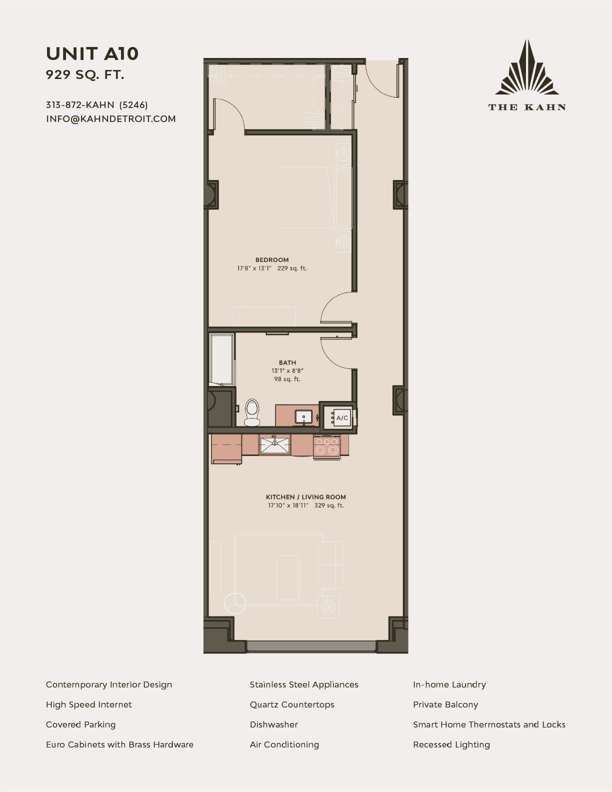 A10 floor plan image at The Kahn in Detroit, Michigan
