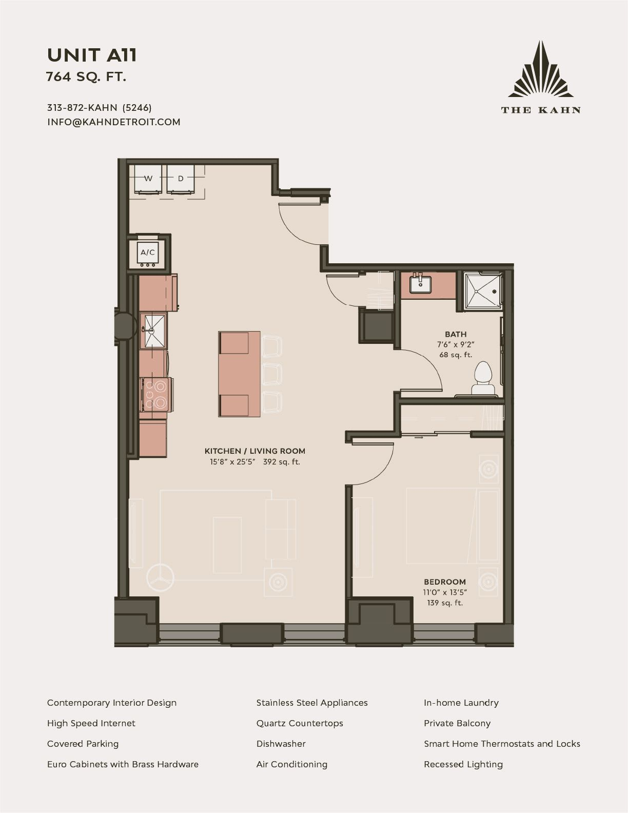 A11 floor plan image at The Kahn in Detroit, Michigan