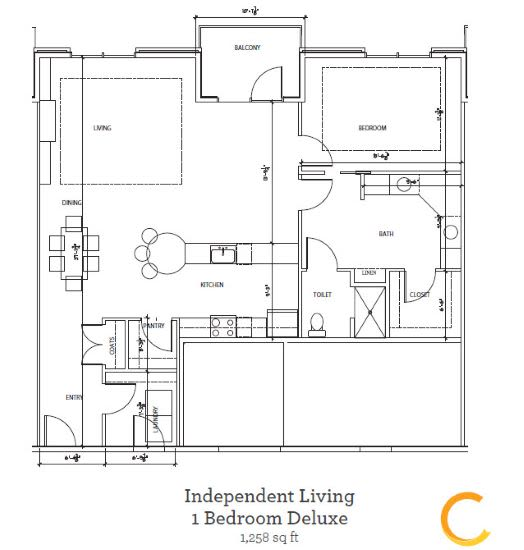New independent living 1 bedroom deluxe blueprint at Celebration Village Forsyth in Suwanee, Georgia