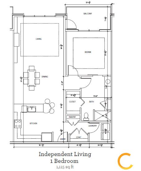New independent living 1 bedroom blueprint at Celebration Village Forsyth in Suwanee, Georgia