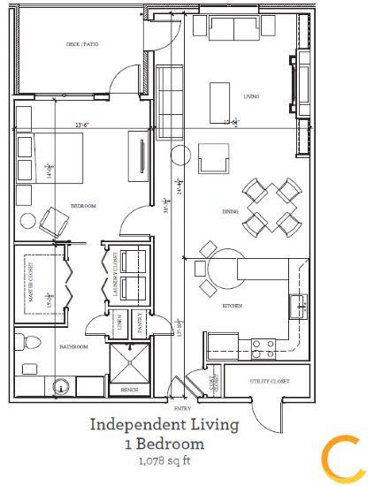 New independent living 1 bedroom  blueprint at Celebration Village Acworth in Acworth, Georgia