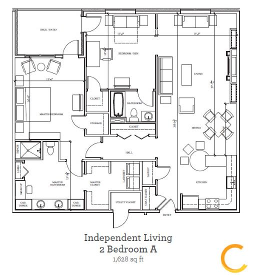 New independent living 2 bedroom A blueprint at Celebration Village in Acworth, Georgia
