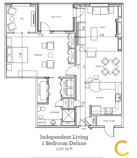New independent living 1 bedroom deluxe blueprint at Celebration Village in Acworth, Georgia