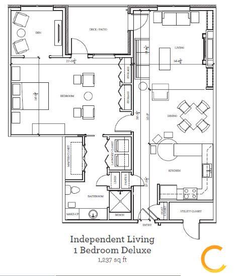 New independent living 1 bedroom deluxe blueprint at Celebration Village Acworth in Acworth, Georgia