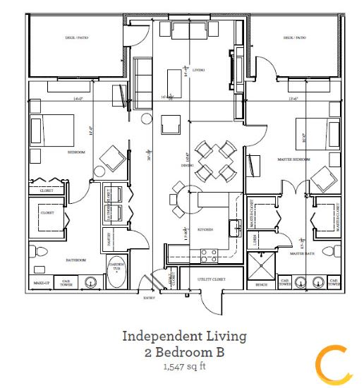 New independent living 2 bedroom B blueprint at Celebration Village in Acworth, Georgia