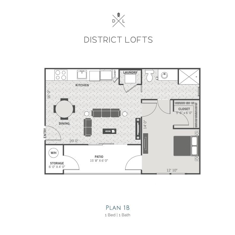 1B 2d floor plan