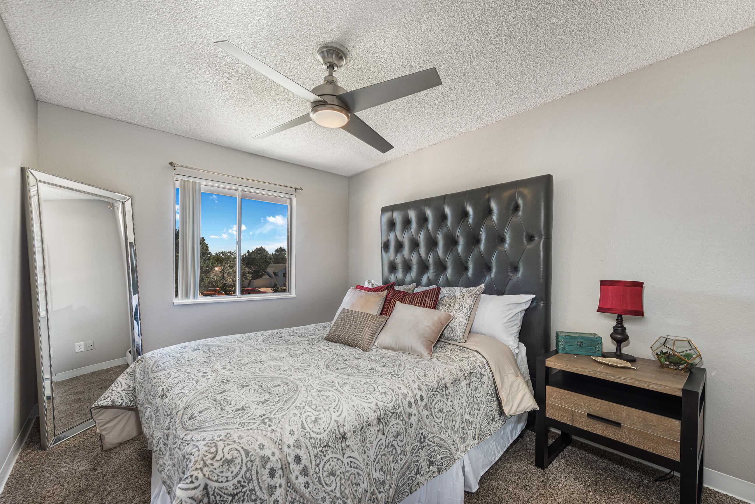 Model bedroom of Florida Station Apartments in Aurora, Colorado