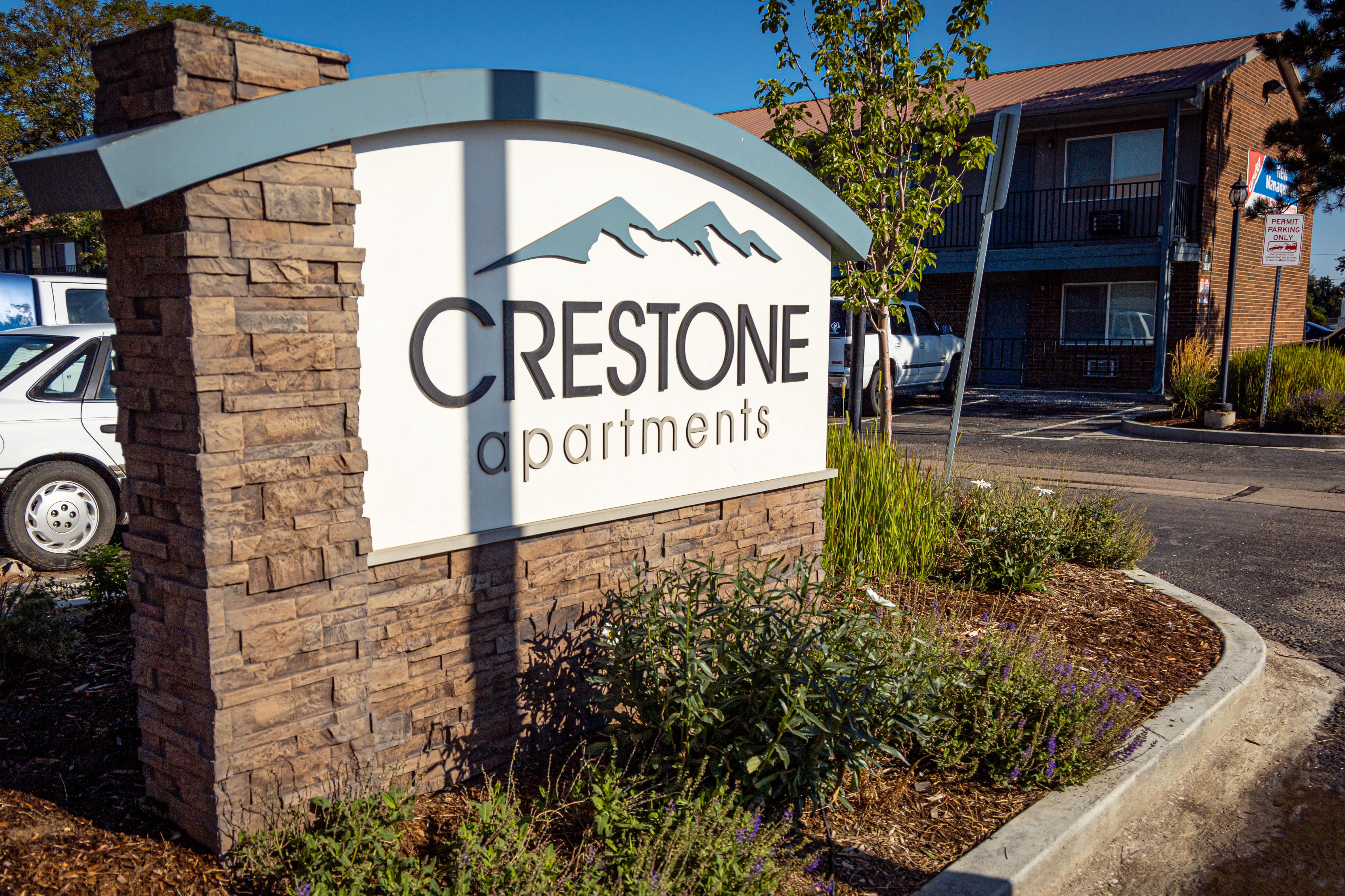 Model bedroom of Crestone Apartments in Brighton, Colorado