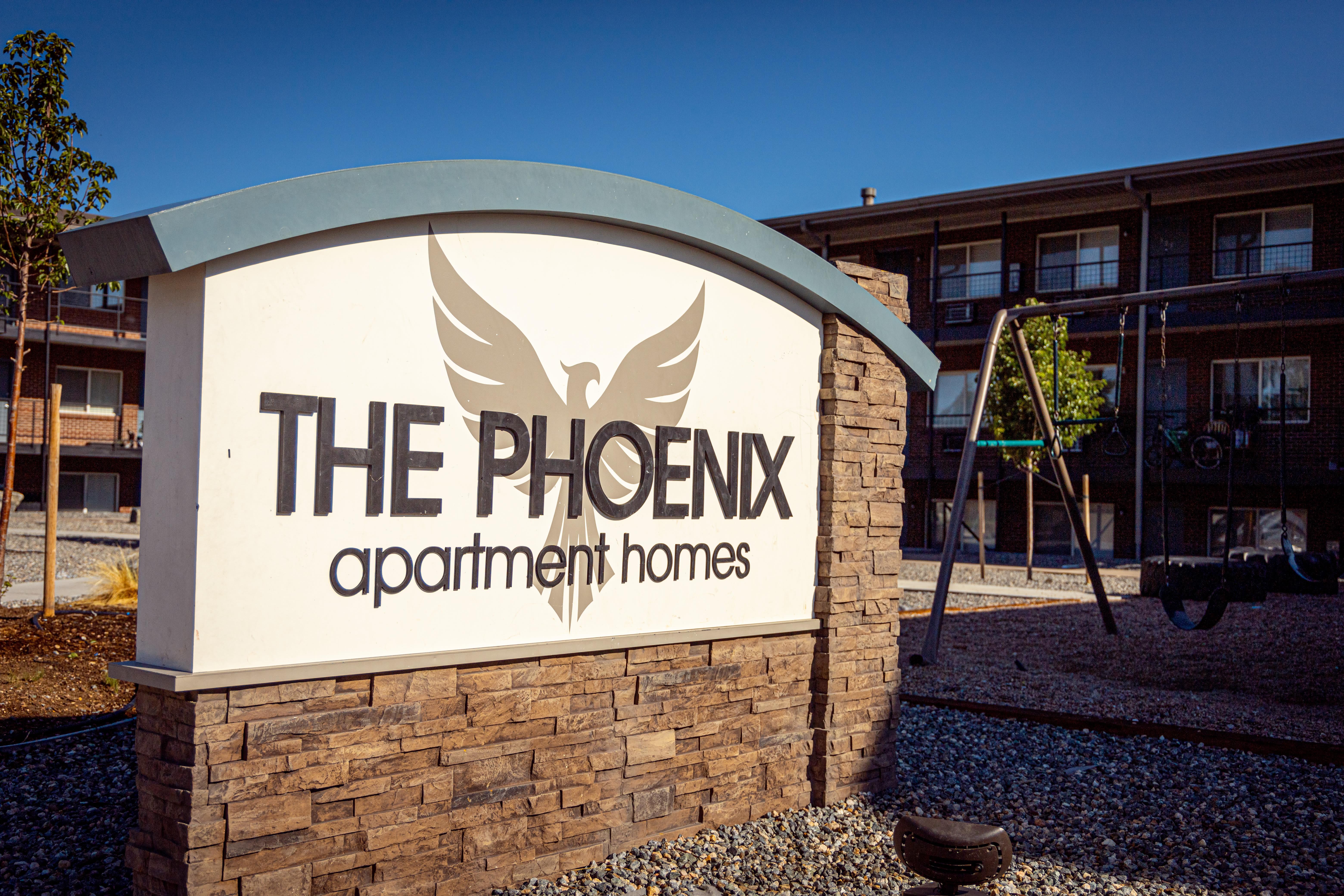 Front sign of The Phoenix in Brighton, Colorado