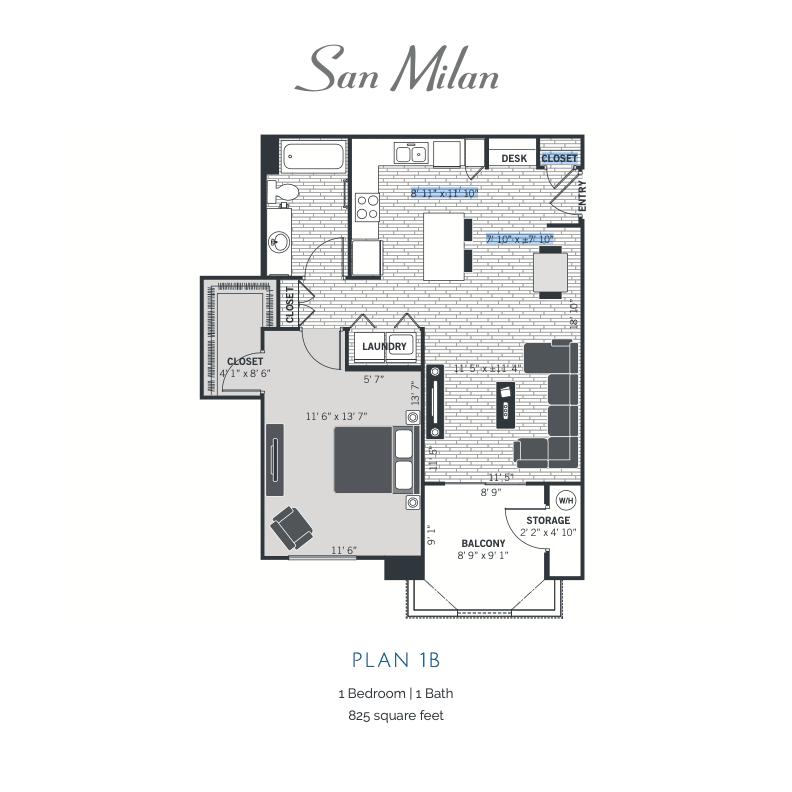 Plan 1B 2D floor plan image