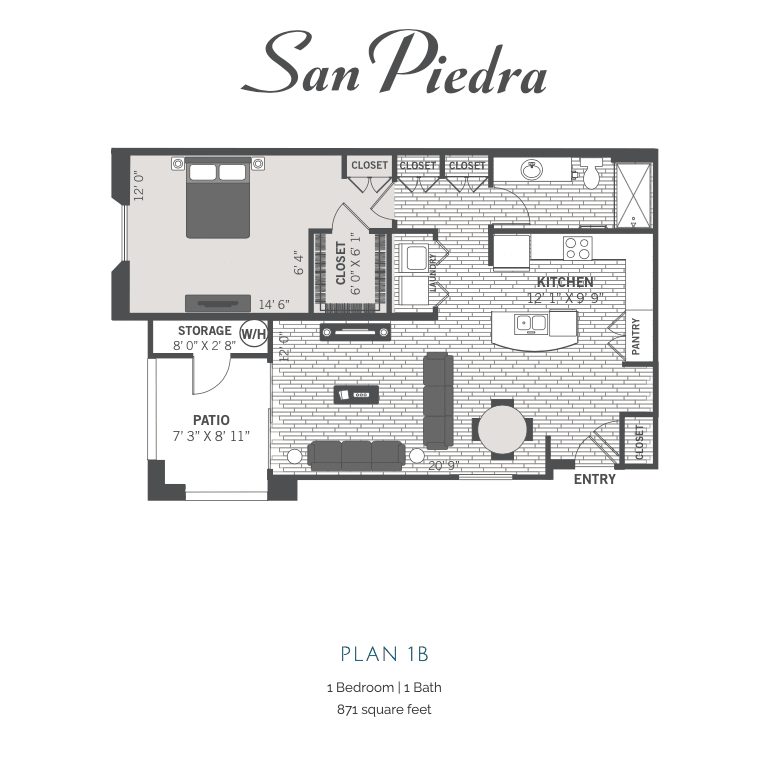 1B 2D floor plan Image