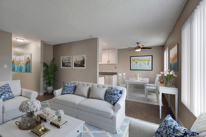Model living room at The Hawthorne in Carmichael, California