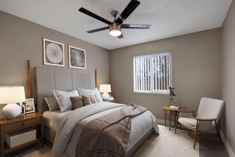 Model bedroom of The Hawthorne in Carmichael, California