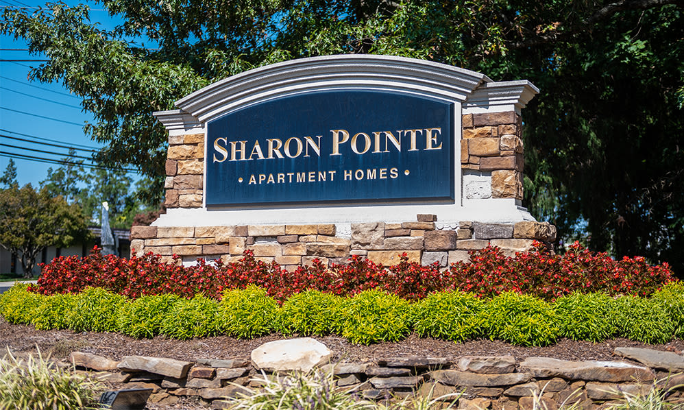 Entrance sign at Sharon Pointe Apartment Homes in Charlotte, North Carolina