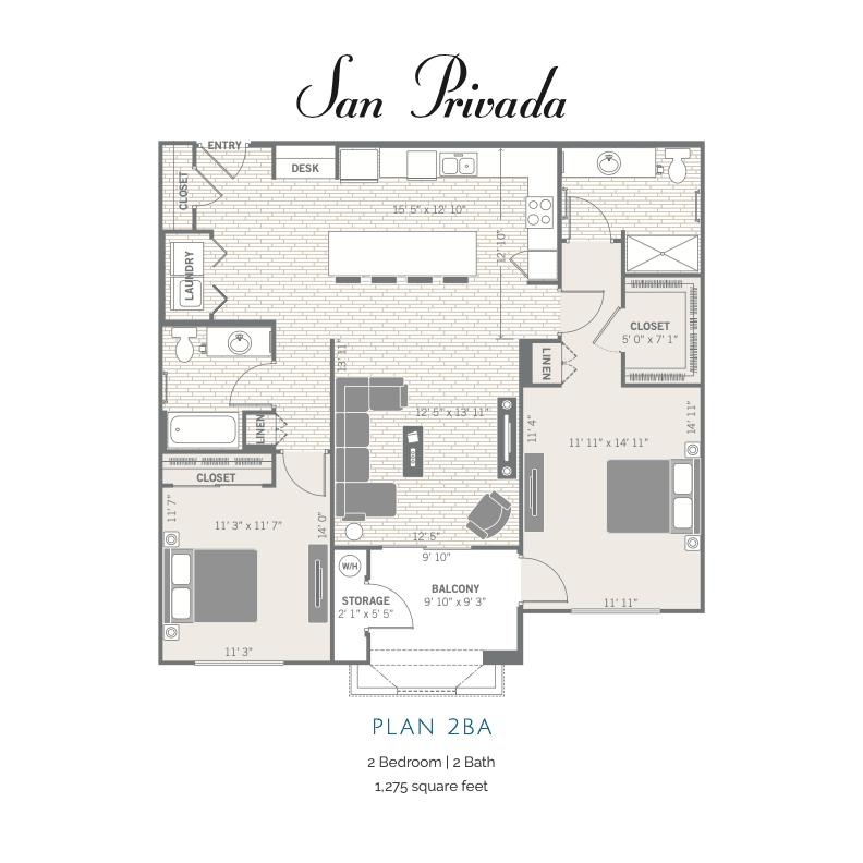 2BA 2d floor plan