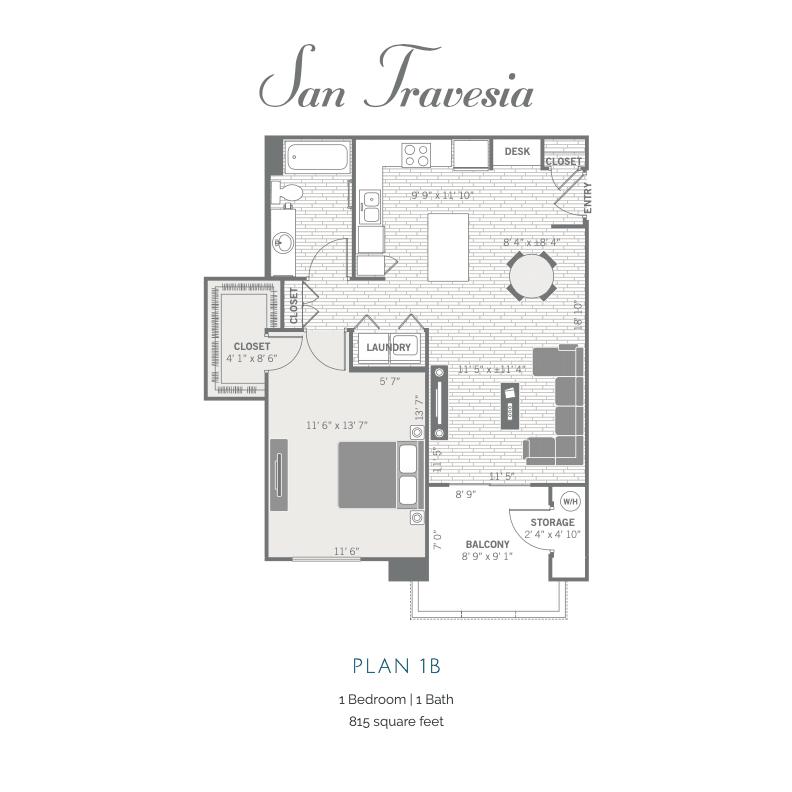 1B 2D floor plan image