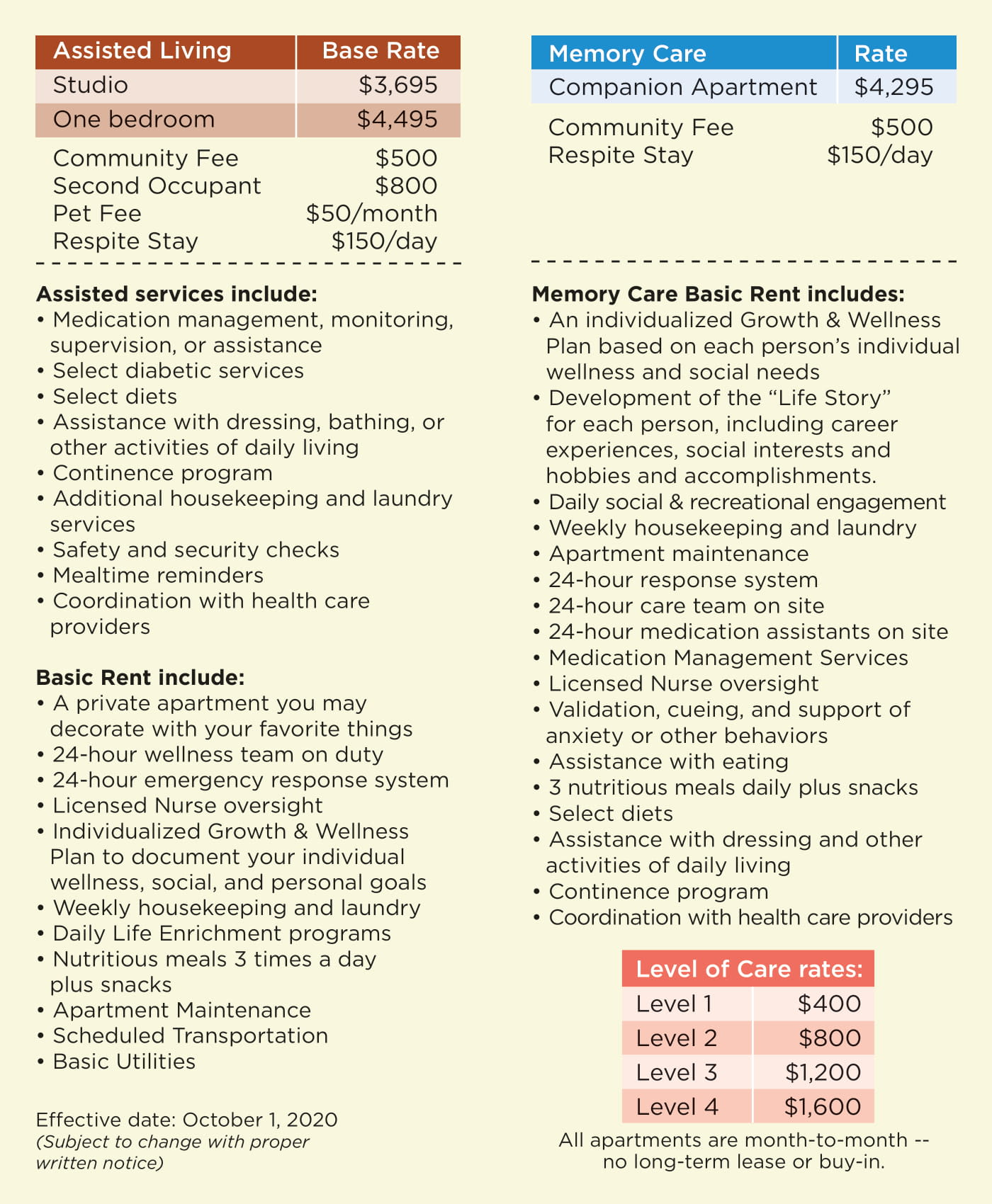 Desert Peaks Assisted Living and Memory Care rates