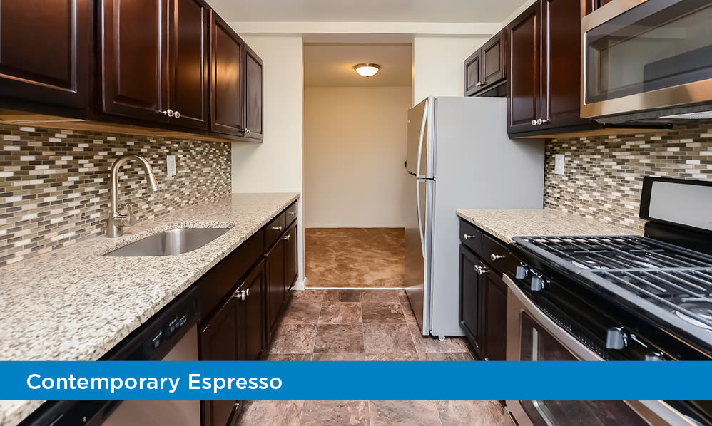 Fully equipped kitchen at Towers of Windsor Park Apartment Homes in Cherry Hill, NJ