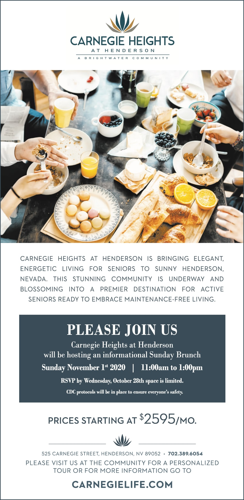 Informational brunch flyer for Carnegie Heights at Henderson