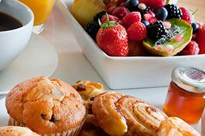 Breakfast pastries at Woodholme Gardens in Pikesville, Maryland