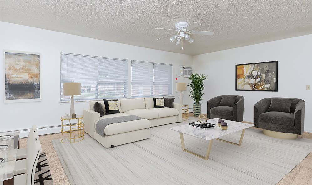 Large living room at Creek Hill Apartments in Webster, New York