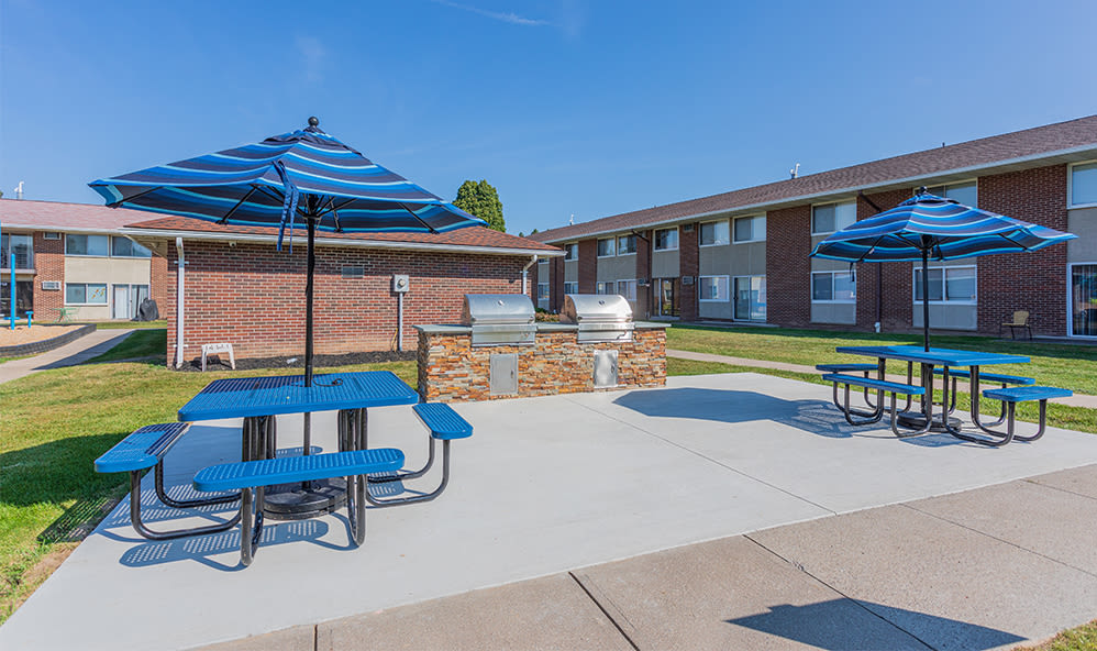 Grill stations at Creek Hill Apartments in Webster, New York